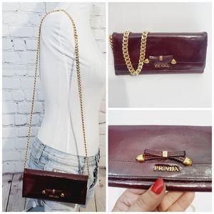PRADA authentic mahogany leather long  wallet